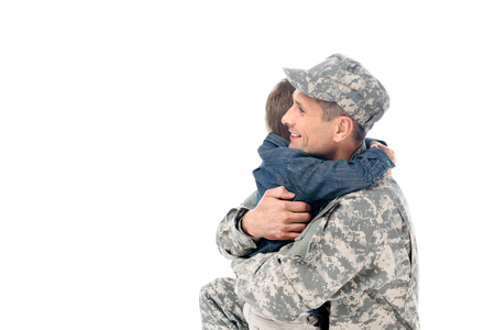 happy father in military uniform embracing with son isolated on white Stock Photo