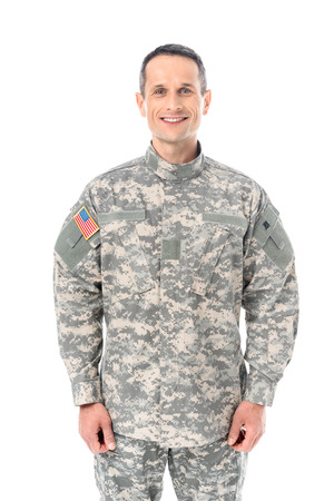 smiling military man in usa camouflage uniform isolated on white Stock Photo