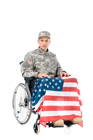 military man in wheelchair with usa flag isolated on white