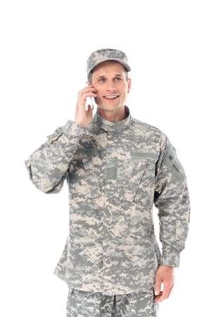 happy military man in talking by phone isolated on white 스톡 콘텐츠