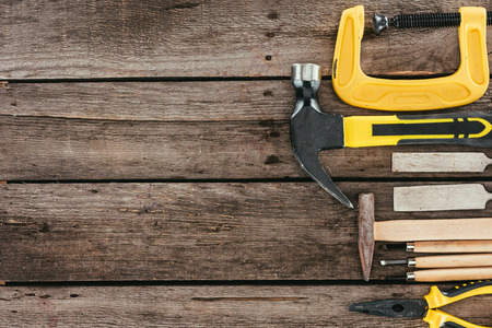 top view of woodcraft equipment on wooden tabletop Stock Photo