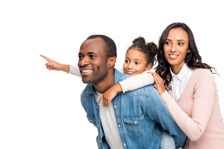 happy african american family looking away isolated on white Stock Photo