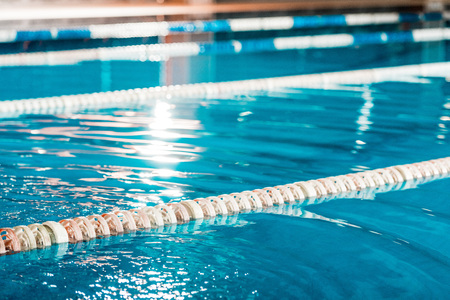 close up view of lanes of a competition swimming pool