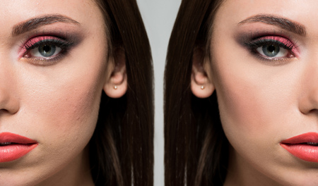 face of beautiful young woman before and after retouch isolated on grey