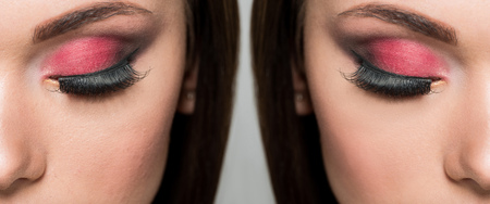 face of attractive young woman with colorful eyelashes before and after retouch isolated on grey