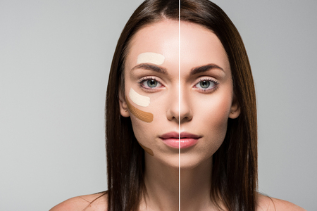 young woman with tonal foundation on face splitted on halves with before and after view isolated on grey