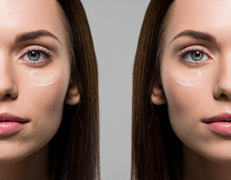 face of young woman applying facial cream before and after retouch isolated on grey