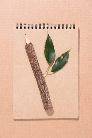 top view of wooden pencil with green leaves on blank notebook on beige Stock Photo - 104571185