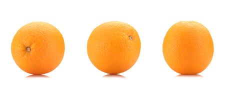 close up view of wholesome oranges isolated on white Stock Photo
