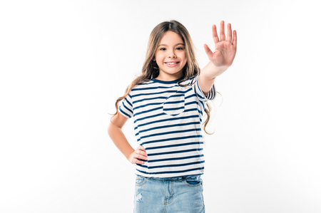 Smiling kid giving high five isolated on white