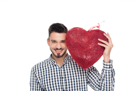 man holding heart of threads isolated on white, valentines day concept