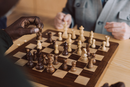 cropped shot of men playing chess Stok Fotoğraf