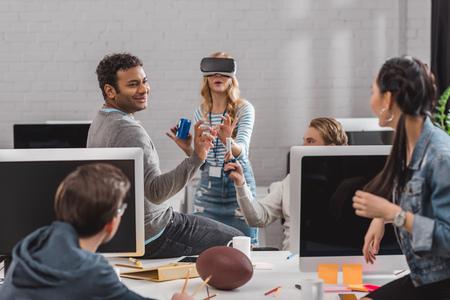 happy people having fun in modern office