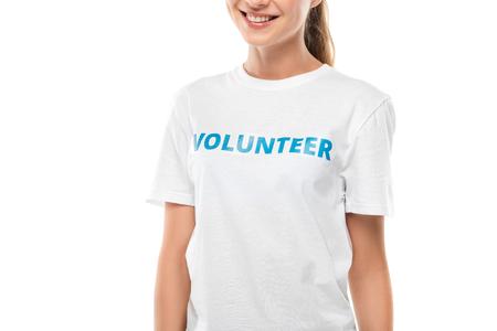 cropped shot of smiling female volunteer isolated on white Standard-Bild - 104558157