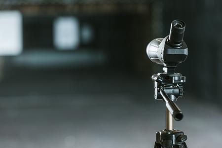 one binoculars in empty shooting range