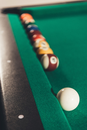 closeup billiard balls on gambling table Imagens