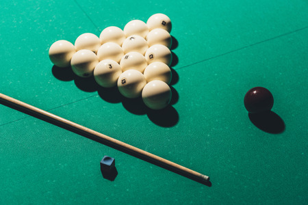 gambling table with russian billiard set and cue Archivio Fotografico - 104560713