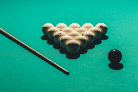 gambling table with russian billiard set and cue Archivio Fotografico - 104560966