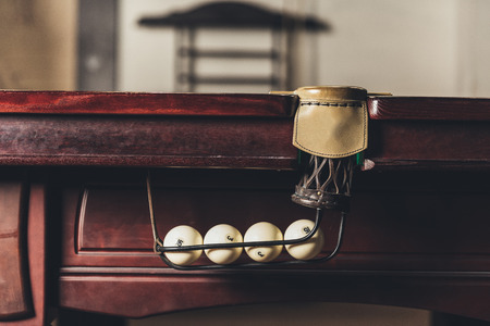 leather billiard pocket in gambling table Stock Photo