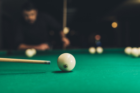 closeup pool table with russian billliard ball number 14 Stock Photo