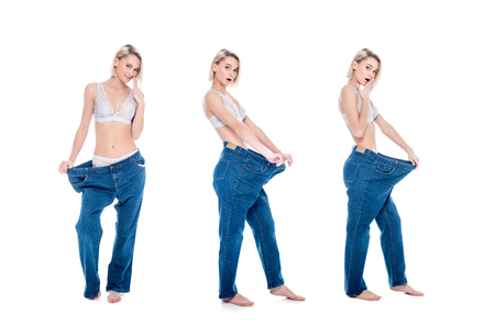 collage with shocked slim girl in old jeans old jeans after losing weight, isolated on white