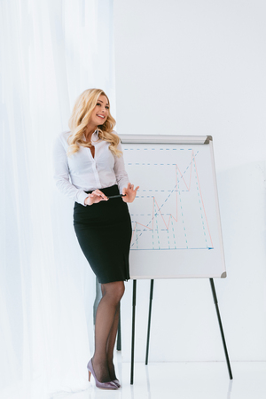 seductive blonde businesswoman standing at chart and holding pencil
