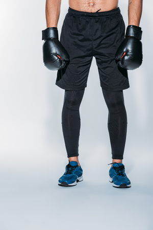 Cropped image of boxer in sport shorts and gloves Stockfoto