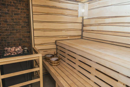 interior of moder wooden finnish sauna