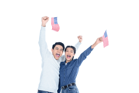 happy teenage students with usa flags isolated on white