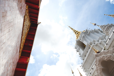 bottom view of beautiful thai temple on sunny day