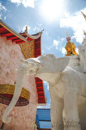 beautiful elephant sculpture at thai temple