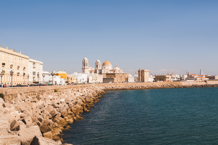 view of Cadiz with cathedral under blue sky, Cadiz, Spain
