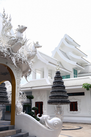 beautiful white thai hindu temple on sunny day