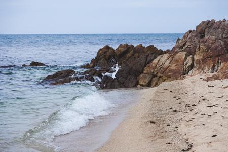beautiful rocky coast on cloudy day