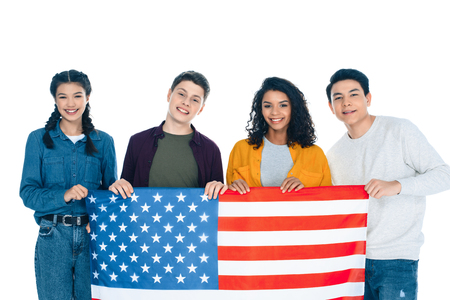 group of happy multiethnic students with usa flag isolated on white