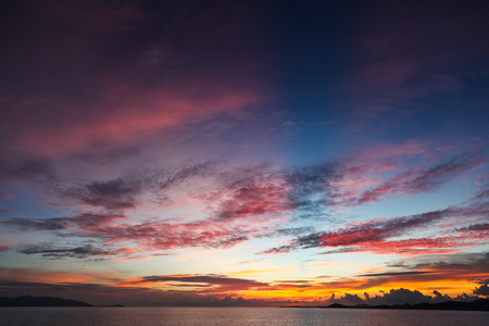 colorful sunset sky over tranquil sea surface