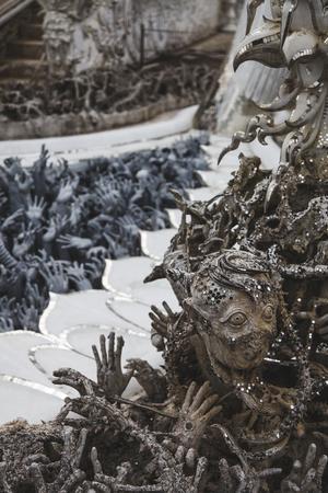 close-up shot of beautiful sculpture decorations at thai temple