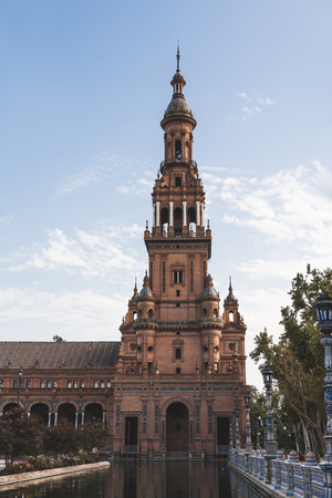 eclectic tower under blue sky, Seville, spain Stock Photo