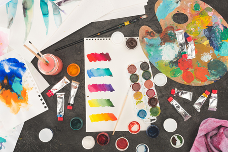 Top view of sketch of mixed watercolor paints