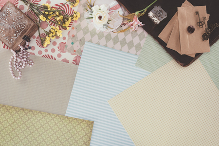 top view of retro objects over pack paper background Stock Photo