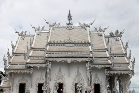facade of beautiful thai temple on sunny day