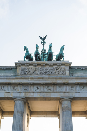 low angle view of Brandenburg Gate in Berlin, Germany
