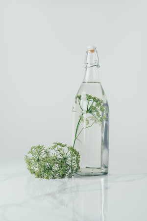 glass bottle with water and dill on table Zdjęcie Seryjne