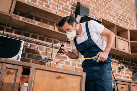 pest control worker spraying pesticides in kitchen and using flashlight Stock Photo