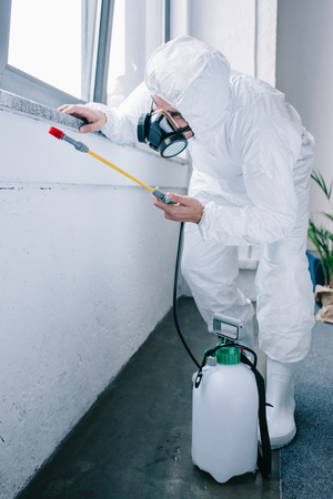 pest control worker in uniform spraying pesticides under windowsill at home Foto de archivo