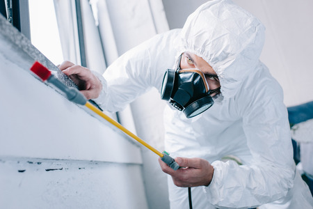 pest control worker in respirator spraying pesticides under windowsill at home Stock Photo