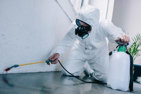 Trabajador de control de plagas rociando pesticidas en el piso en casa