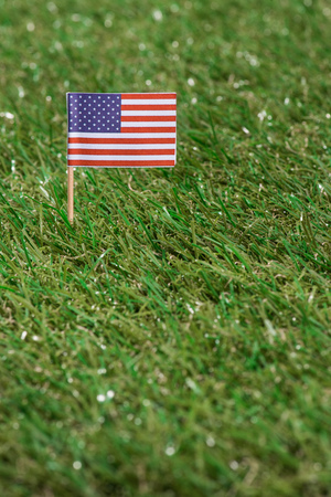 close up view of american flagpole on green grass 写真素材 - 105675881
