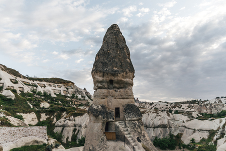 stairs and entrance to cave in goreme national park,cappadocia, turkey