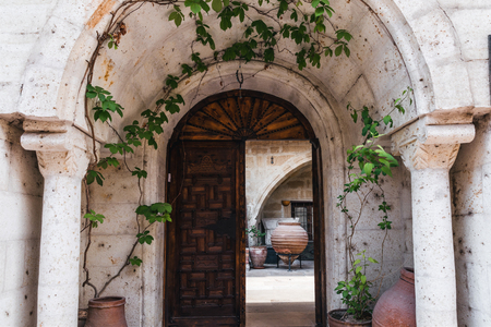 open door and old building with green ivy leaves in cappadocia, turkey